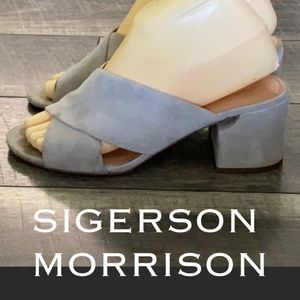 Sigerson Morrison suede leather mules sandals 7.5